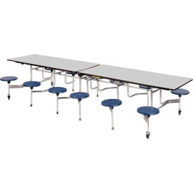 """Virco® Folding Mobile Cafeteria Table with Seats - 120""""L - Gray Nebula Top - 12 Navy Seats"""
