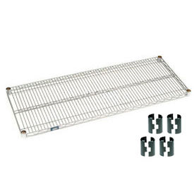 """Nexel S2436C Chrome Wire Shelf 36""""W x 24""""D with Clips"""