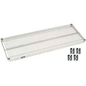 """Nexel S2460EP Silver Epoxy Wire Shelf 60""""W x 24""""D with Clips"""