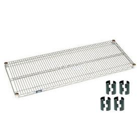 """Nexel S2460C Chrome Wire Shelf 60""""W x 24""""D with Clips"""