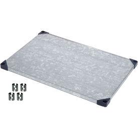 """Nexel S2460SZ Solid Galvanized Shelf 60""""W x 24""""D with Clips"""