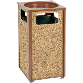 """Global Industrial™ Stone Panel Trash Sand Urn Brown 13-1/2"""" Square X 32""""H"""
