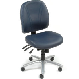 Antibacterial Office Chair - Leather - Blue
