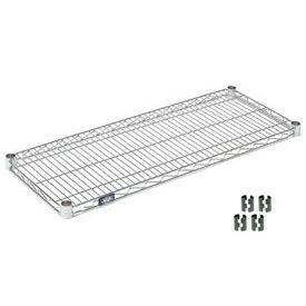 """Nexel S1824C Chrome Wire Shelf 24""""W x 18""""D with Clips"""