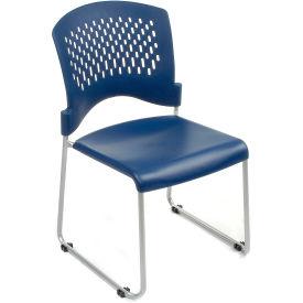 Ventilated Plastic Stackable Chair - Blue - Pkg Qty 4