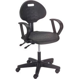 Ergonomic Polyurethane Chair with Arms - Black