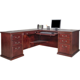 Martin Furniture Left L Shaped Desk   Vibrant Cherry   Huntington Club  Series