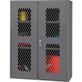 """Durham Heavy Duty Expanded Metal Mesh Door Cabinet EMDC-362442-95 - 14 Gauge 36""""W x 24""""D x 42""""H"""