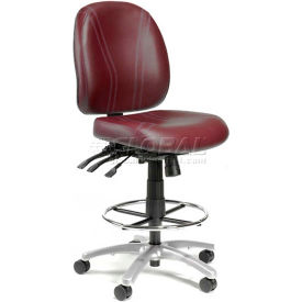 Interion™ 24/7 Anti-bacterial 8 Way Adjustable Stool - Burgundy
