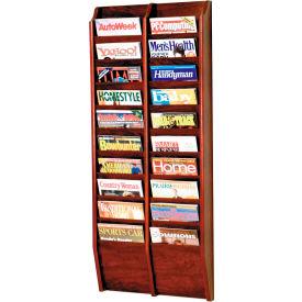 20 Pocket Oak Wall Rack Mahogany