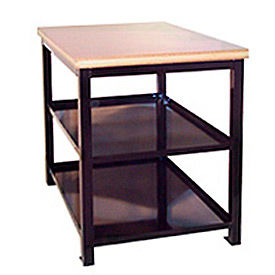 24 X 36 X 36 Double Shelf Shop Stand - Maple - Black