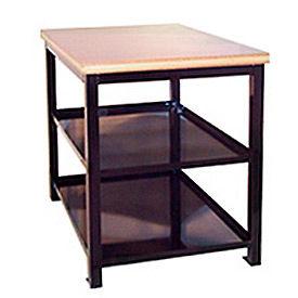 24 X 36 X 36 Double Shelf Shop Stand - Maple - Blue