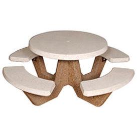 """42"""" Round Picnic Table, Polished White Top, Tan River Rock Leg"""