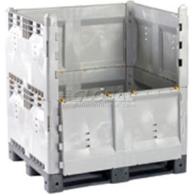 """Decade KitBin Vented 14K100 Quick Assembly Container Vented Wall 48""""Wx40""""Dx50""""H 2200 Lbs. Cap Gray"""
