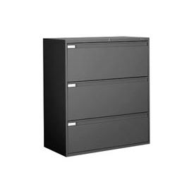 "Global 9300 Series 42""W 3 Drawer Binder Lateral File Black by"