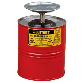 Justrite Safety Plunger Can - 4 Quart Steel