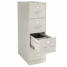 "HON® 25""D 4 Drawer Vertical File - Letter - Putty w/ Lock"