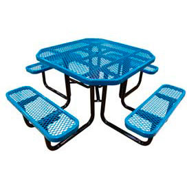 """46"""" Octagonal Picnic Table Blue Expanded Metal Surface Mount Style"""