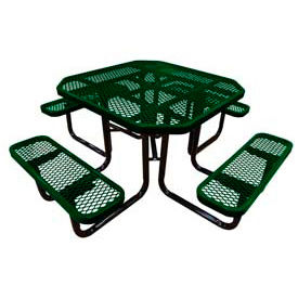 """46"""" Octagonal Picnic Table Green Expanded Metal Surface Mount Style"""