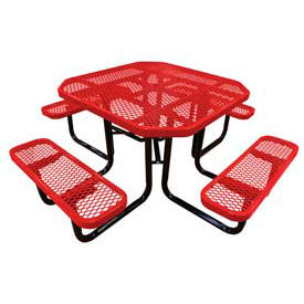 "46"" Octagonal Picnic Table Red Expanded Metal Surface Mount Style"