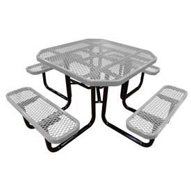 """46"""" Octagonal Picnic Table Gray Expanded Metal Surface Mount Style"""