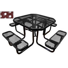 """46"""" Octagonal Picnic Table Black Perforated Metal Surface Mount Style"""