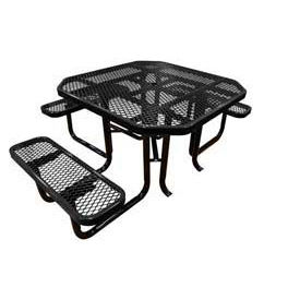 "46"" Octagonal Picnic Table (Ada) Black Expanded Metal Surface Mount Style"