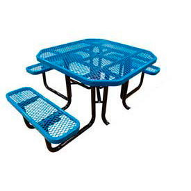 """46"""" Octagonal Picnic Table (Ada) Blue Expanded Metal Surface Mount Style"""