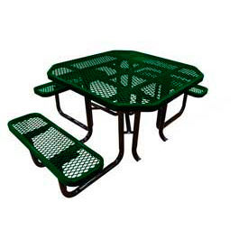 """46"""" Octagonal Picnic Table (Ada) Green Expanded Metal Surface Mount Style"""