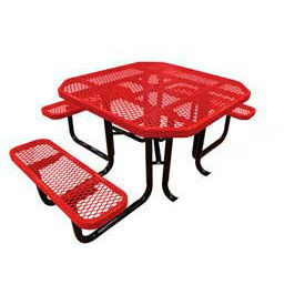 "46"" Octagonal Picnic Table (Ada) Red Expanded Metal Surface Mount Style"
