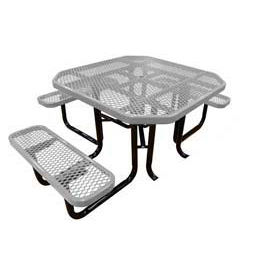 "46"" Octagonal Picnic Table (Ada) Gray Expanded Metal Surface Mount Style"