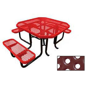 "46"" Octagonal Picnic Table (Ada) Red Perforated Metal Surface Mount Style"