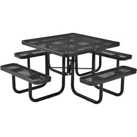 "46"" Square Picnic Table Black Expanded Metal Surface Mount Style"