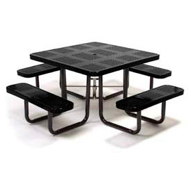 """46"""" Square Picnic Table Black Perforated Metal Surface Mount Style"""