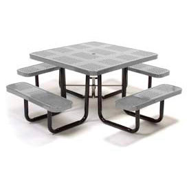 """46"""" Square Picnic Table Gray Perforated Metal Surface Mount Style"""