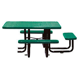 """58"""" Picnic Table (ADA) Green Expanded Metal Surface Mount Style"""