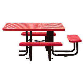 """58"""" Picnic Table (ADA) Red Expanded Metal Surface Mount Style"""