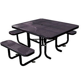 """58"""" Picnic Table (ADA) Black Perforated Metal Surface Mount Style"""