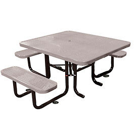 """58"""" Picnic Table (ADA) Gray Perforated Metal Surface Mount Style"""