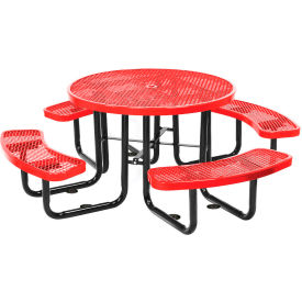 """46"""" Round Picnic Table Red Expanded Metal Surface Mount Style"""