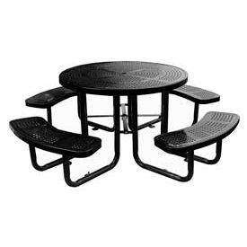 """46"""" Round Picnic Table Black Perforated Metal Surface Mount Style"""