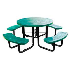 """46"""" Round Picnic Table Green Perforated Metal Surface Mount Style"""