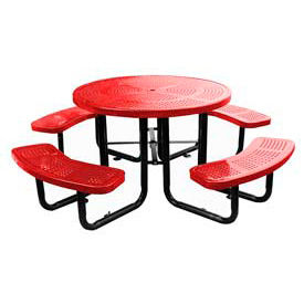 """46"""" Round Picnic Table Red Perforated Metal Surface Mount Style"""