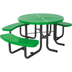 """46"""" Round Picnic Table (Ada) Green Perforated Metal Surface Mount Style"""