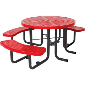 """46"""" Round Picnic Table (Ada) Red Perforated Metal Surface Mount Style"""