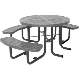 """46"""" Round Picnic Table (Ada)Gray  Perforated Metal Surface Mount Style"""