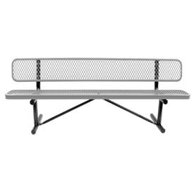 """72"""" Bench With Backrest Gray Expanded Metal Surface Mount Style"""