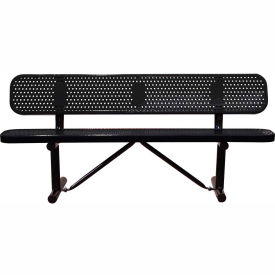 """72"""" Bench With Backrest Black Perforated Metal Surface Mount Style"""