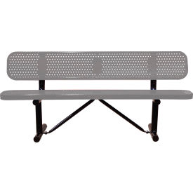 """72"""" Bench With Backrest Gray Perforated Metal Surface Mount Style"""
