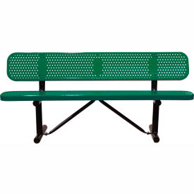 "96"" Bench With Backrest Green Perforated Metal Surface Mount Style"